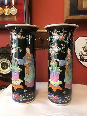 Pair Of Antique Japanese Hand Painted Vases
