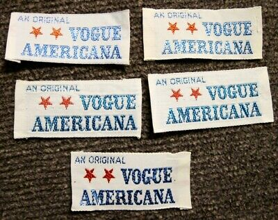 "Lot of 5 ""Original Vogue Americana"" Sew In Garment Labels"