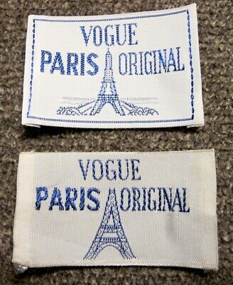"Lot of 2 ""Vogue Paris Original"" Sew In Garment Labels"