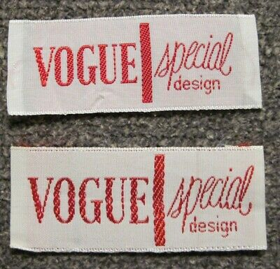 "Lot of 2 ""Vogue Special Design"" Sew In Garment Labels"