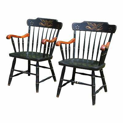 Vintage Pair Colonial S. Bent & Bros. Eagle Stenciled Windsor Style Arm Chairs