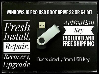 Windows 10 Pro Installation Repair Restore USB drive + 32 & 64 Bit Key License