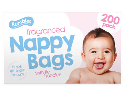 Nappy Bags Scented Fragranced Bags Disposable, Hygienic, Perfumed, Tie Handles