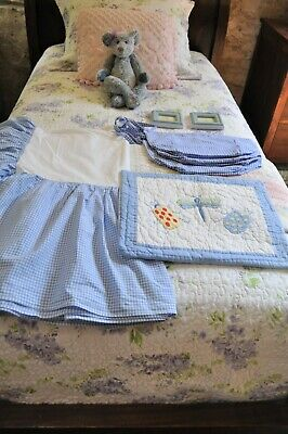 POTTERY BARN KIDS Blue Bed Skirt, Pillow Sham, 3 Basket Liners & Picture Frames