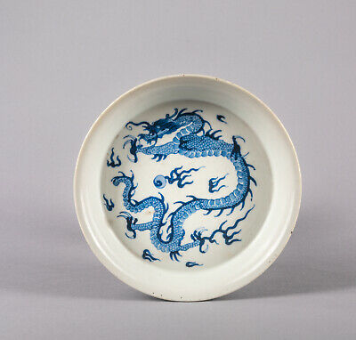 Chinese Antique Blue & White porcelain Dragon Dish