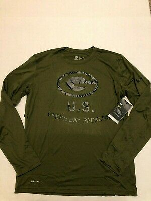 Green Bay Packers Salute To Service STS Nike Dri-fit L/S Shirt 2018 Size: Large