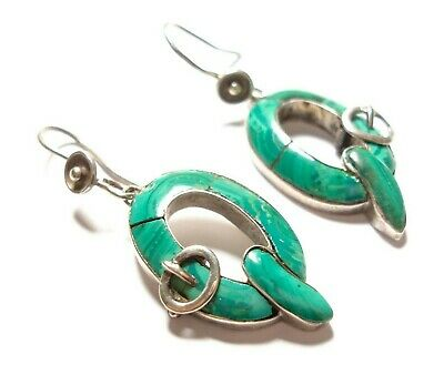 Beautiful Pair Of Antique Victorian Scottish Silver And Malachite Earrings