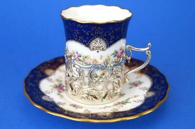 COALPORT Roses ART NOUVEAU Coffee Cup/Can & HM Solid Silver Holder London 1913