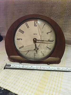Smiths Mantel Clock Wood And Ornate Gold Coloured Design Star On Hand Damaged