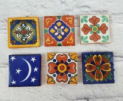 """Lot Of 6 Mexican Handmade Tiles 2"""" Square Item #5"""