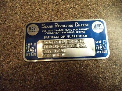 Vintage Sears Metal Revolving Charge Plate Credit Card ~ Early Metal Credit Card