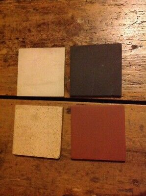 "4 Vintage Tiles 4"" Square Brown Black Czechoslovakia"