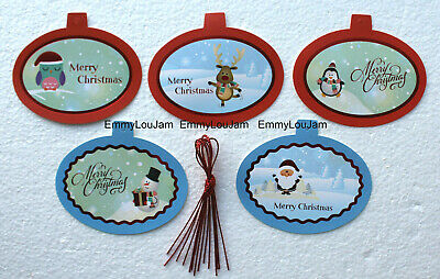 20 / 40 Red & Blue Novelty Gift Tags / Christmas Labels with String - NEW