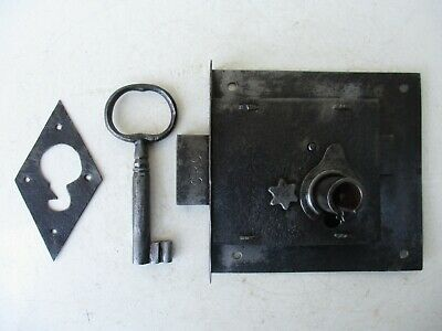 Antique / Vintage Door Iron Lock Key Locking Complete With Cover Plate Key Hole