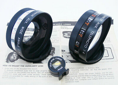 Yashica Auxiliary Telephoto & Wide-Angle Lenses With Tele-Wide Finder Electro 35