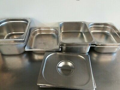 2  Gastronorm 1/2 150 MM  Deep Stainless Steel Containers