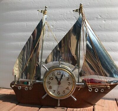 Vintage 3 Sail Sailboat Electric Lighted Sessions NOT WORKING Clock Missing Part