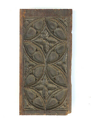 14th / 15th C. French Gothic Oak Tracery Panel Medieval Period - Very Old!