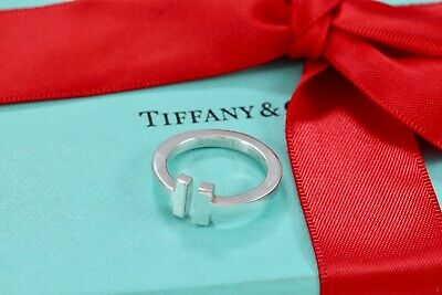 Tiffany & Co. Sterling Silver T Square Band Ring Size 6.5 w/Packaging