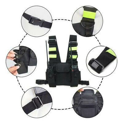 1x Oxford Cloth Radio Chest Front Harness Pack Pouch Holster Vest Rig Replace
