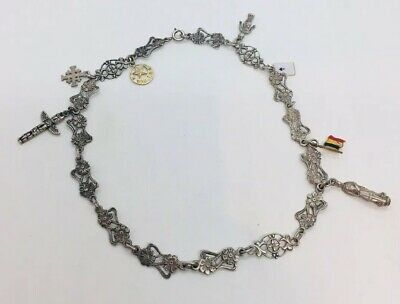 Antique Victorian Sterling Silver Floral Ornate Charm Chain Necklace