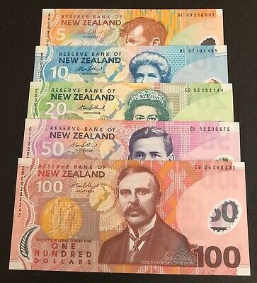 NEW ZEALAND BANK NOTES 5 PC SET.  2007 $5, 10, 20, 50, 100. Bollard. UNC.