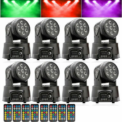 8PCS 7LED 105W RGBW LE Moving Head 4 in 1 Stage Lighting DMX512 DJ Disco Party