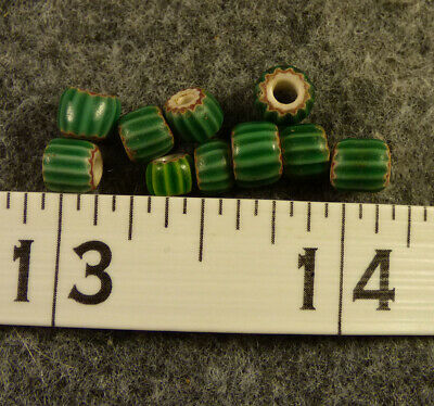 (10) Great Lakes Indian Watermelon Glass Chevron Trade Beads 200+ Years Old