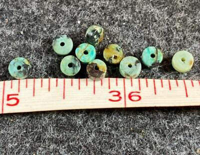 (10) Original Navajo Turquoise Indian Trade Beads 150+ Years Small Old Discs