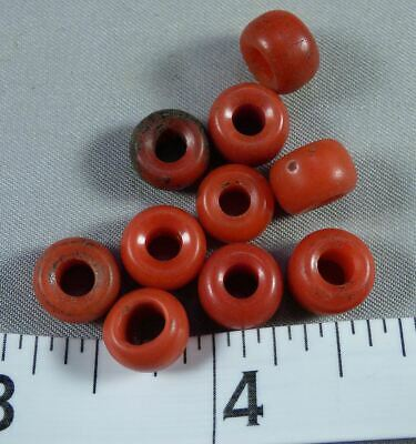 (10) Sioux Indian Red Padre Glass Trade Beads 150+ Years Old