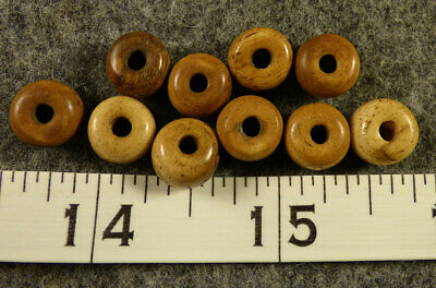 (10) Sioux Indian Padre Bone Trade Beads 150+ Years Old