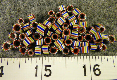 (10) 5 Layer Chevron Beads Indian Watermelon Glass Trade Beads 150+ Yr Old