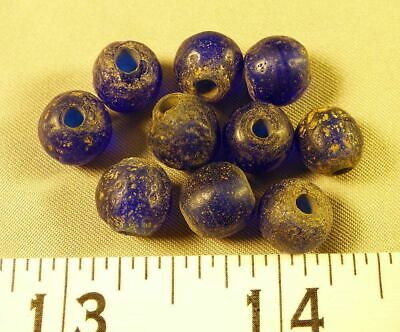 (10) Huron Indian Cobalt Blue Glass Trade Beads 150+ Years Excellent Patina Age