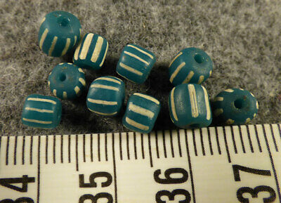 (10) Teal Aqua Blue Huron Indian False Chevron Glass Trade Beads 150+ Year Old