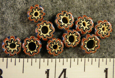 (10) Fur Trade Era Indian 6 Layer Chevron Glass Trade Beads Red Blue Very Old
