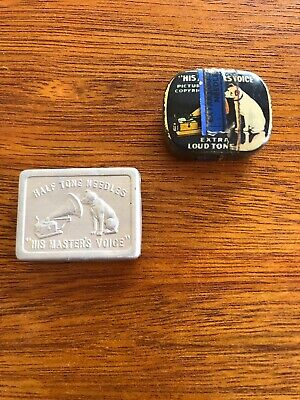 2 Collectable Gramophone Needle Tins His Master's Voice with Needles