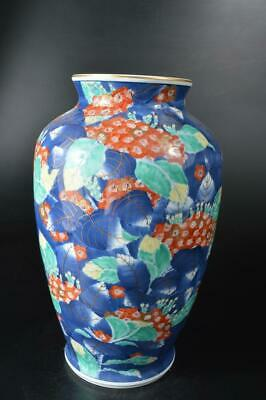 U4079: Japanese Arita-ware Colored porcelain Gold paint BIG FLOWER VASE Ikebana