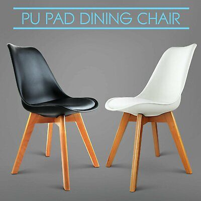 2/4 x Padded Retro Replica Eames Eiffel DSW Dining Chairs Cafe Kitchen