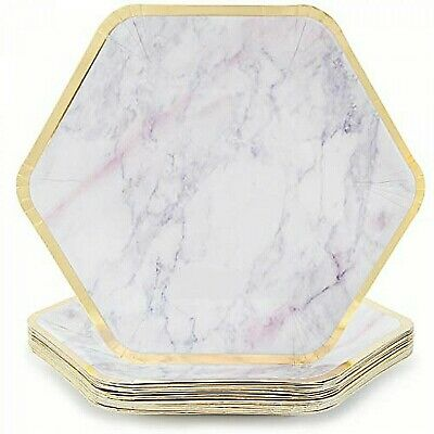 Gold Border Marble Effect Paper Plates Disposable Hexagon 24 Pcs Party Tableware
