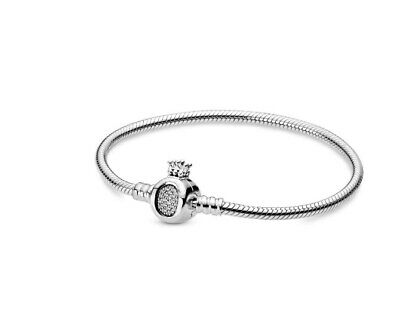 2019 Autumn 925 Sterling Silver Moments Crown O & Snake Chain Europe Bracel