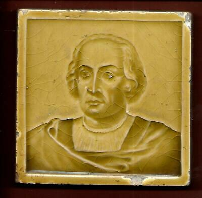 C Pardee Works Art  Tile In Relief Victorian Hatless Quaker Gloss Yellow
