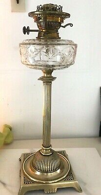 large victorian brass oil lamp with large crystal cut clear fount hincks burner