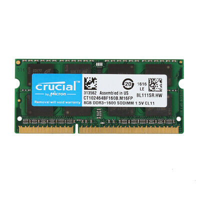 Crucial 8GB 2RX8 PC3-12800S DDR3 1600MHz 204pin Sodimm Laptop Memory RAM @10H