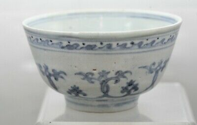 Exquisite Antique Chinese Late Ming Dynasty Blue & White Porcelain Bowl c1600s