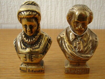 Pair Solid Brass Bust castings William Shakespeare and Anne Hathaway