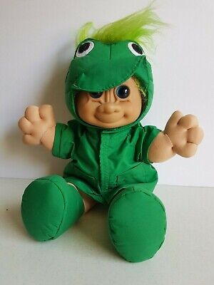 Russ Troll Doll Large Sized Green Jacket Plush Body 13 Inches Vintage