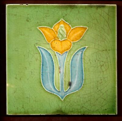 Moulded Art Nouveau Stylised Floral Tile C1905