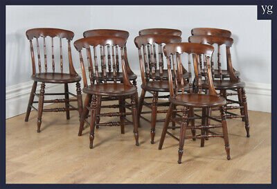 Antique Set 8 Eight Victorian Ash Elm Windsor Spindle Bar Back Kitchen Chairs