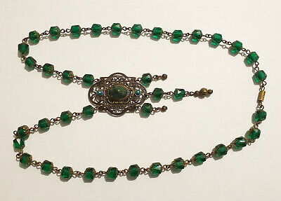 Vintage Art Deco Style Genuine Egyptian Scarab Beetle Czech Glass Bead Necklace
