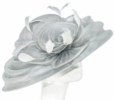 PETER BETTLEY Metallic SILVER GREY WEDDING HAT MOTHER OF THE BRIDE  OCCASION
